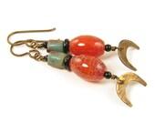 Fire Agate Earrings, Agate Gemstone Earrings, Rust and Green Earrings, Crescent Moon Earrings, Tribal Gemstone Earrings
