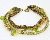 Green Bead Bracelet - Olive Brass Chain Multi Strand Beaded Boho Fashion Jewelry