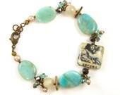 Aqua Gemstone Bracelet Bead Dangle Amazonite Shell Pearl Secret Jewelry