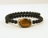 Mens Bracelet Black Brown Silver Male Bracelet Gemstone Beaded Unisex Gentlemans Stone Jewelry