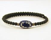 Mens Bracelet Blue Black Brass Navy Trade Bead Tribal Ethnic Beaded Unisex Jewelry for Him
