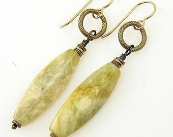 Green Gemstone Earrings Agate Earrings Long Green Dangle Earrings Semiprecious Drop Earrings