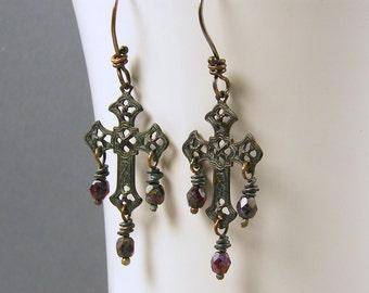Cross Dangle Earrings, Dark Cross Earrings, Gothic Cross Earrings, Filigree Cross Earrings Rustic Oxidized Patina Metal Jewelry |EC1-50