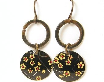 Tin Earrings Boho Rustic Black Red Flower Earrings Upcycled Tin Artisan Earrings Brass Hoop Dangle Earrings |EC3-18