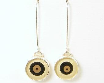 Long Circle Earrings, Beige Cream Tan Black Earrings, Circle Drop Earrings, Sterling Silver Long Dangle Jewelry