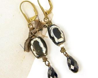 Navy Blue Earrings, Tribal Dangle Earrings, Trade Bead Earrings, Asymmetric Earrings Blue Crystal Earrings Blue Drop Beaded Earrings |EC1-35
