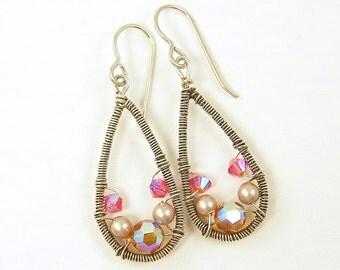 Pink Earrings, Pink Silver Earring, Sterling Silver Teardrop Earrings, Wire Wrapped Earrings, Pink Crystal Earrings, Topaz Wirework Earrings