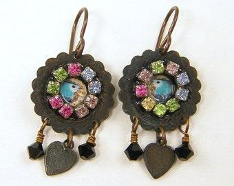 Bird Earrings, Blue Bird Earrings, Mixed Media Colorful Rhinestone Crystal and Heart Dangles  AB4-16