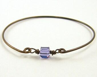 Purple Crystal Bracelet, Purple Bangle Bracelet, Lavender Tanzanite Bracelet, Cube Dark Brass Wire Stacking Stackable Jewelry |BC1-17