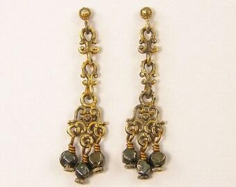 Black Drop Earrings, Black Chandelier Earrings, Long Dangle Earrings, Gold Filigree Earrings