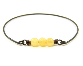 Yellow Bangle Bracelet Yellow Agate Bracelet Rustic Yellow Bracelet Brass Wire Bracelet Gemstone Stackable Bangle Minimialist Jewelry |BC2-2