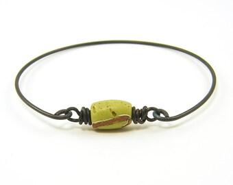 Stackable Bracelet, Green Bangle Bracelet AfricanTrade Bead Tribal Rustic Stacking Dark Brass Wire Jewelry