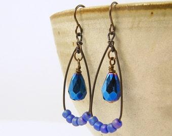 Blue Teardrop Earrings Blue Bead Dangle Earrings Navy Indigo Antique Brass Rustic Bead and Wire Dangle Drop Jewelry |AB3-16