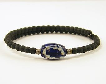 Mens Blue Black Bracelet, Mens Ethnic Bracelet, Trade Bead Bracelet, Blue Tribal Bead Bracelet, Brass Navy Beaded Unisex Jewelry for Him