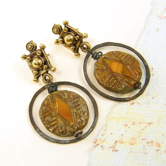 Orange Earrings - Bold Tribal Gold Primitive Post Chunky Bead Jewelry Circle Rustic Fashion Under 25 for Her