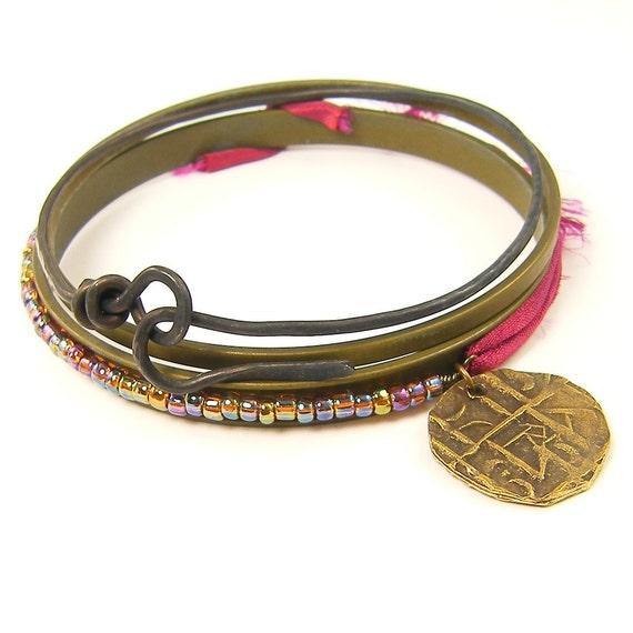 Burgundy Bracelet, Stacked Bracelets, Stacked Bangle Bracelets, Sari ...