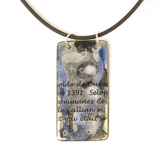 Enamel Necklace - Black White Blue Necklace with Words Writing Pendant Jewelry