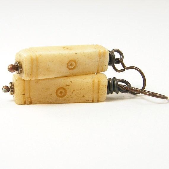 Ivory Earrings Rustic Dark Brass Wire Wrapped Jewelry