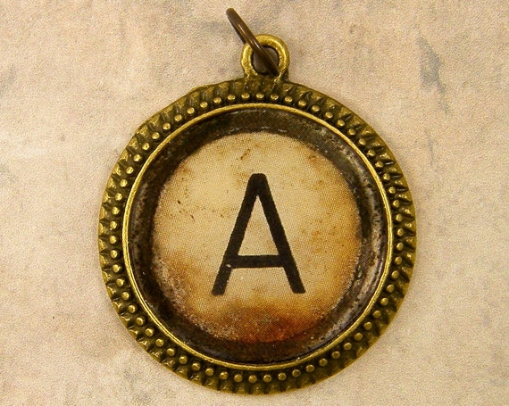 Initial Pendant Charm Letter A Alphabet Personalized Resin Brass Circle Monogram Rustic