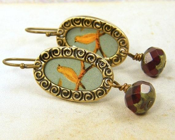 Yellow Bird Earrings - Aqua Brass Oval Garnet Czech Glass Under 25 For Her