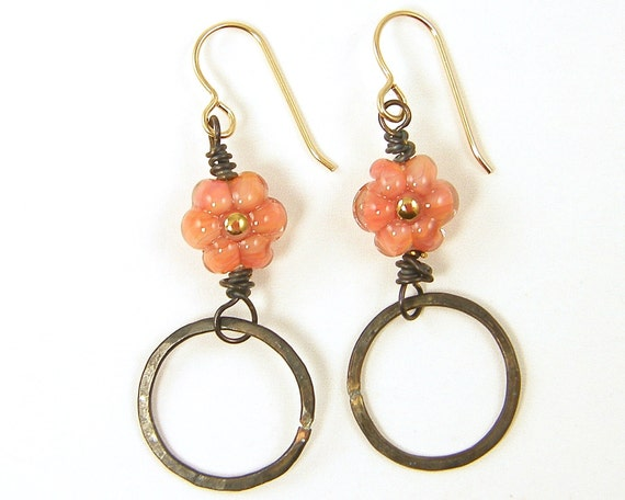 Oxidized Brass Earrings Rustic Hoop Earrings Coral Flower Earrings Peach Flower Earrings Melon Borosilicate Glass Floral Circle Dark Jewelry