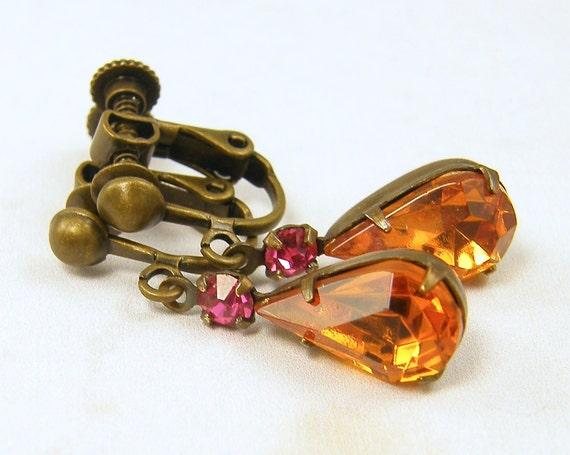 Rhinestone Clip on Earrings - Vintage Pink Topaz Amber Glass Teardrop Dangle Clip Earrings