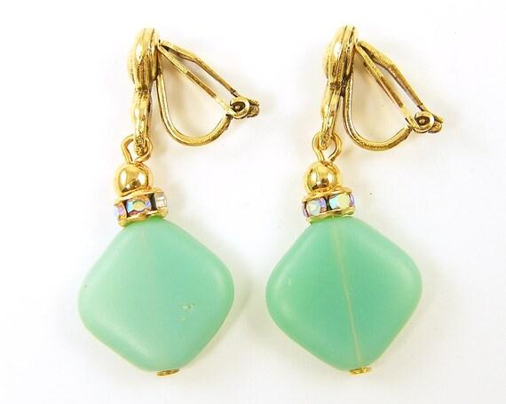 Green Clip Earrings - Mint Rhinestone Gold Dressy Clip on Earrings