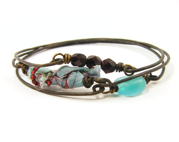 Stacking Bracelets - Turquoise Aqua Burgundy Red Brass Layering Wire Bangles