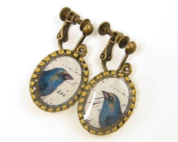Dangle Clip on Earrings - Blue Bird Rustic Woodland Screw Back Jewelry