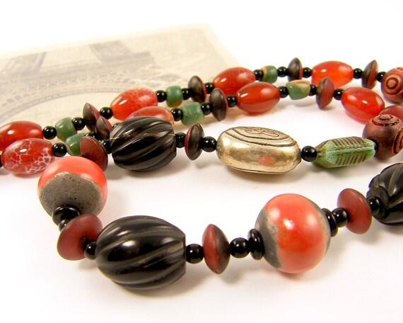 Chunky Bead Necklace - Rust Black Green Gemstone Glass Seed Earth Tone Earthy Beaded Jewelry