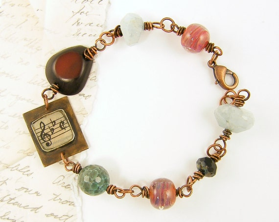 Chunky Bead Bracelet, Pink Green Brown Earthy Rustic Copper Wire Wrapped Artisan Music Jewelry