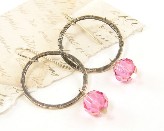 Silver Pink Earrings Sterling Silver Circle Hoop Rose Crystal Hammered Textured Metal Dangle Jewelry