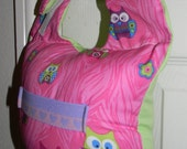 Hands Free Bottle Feeding Bib Owls With Pink Background