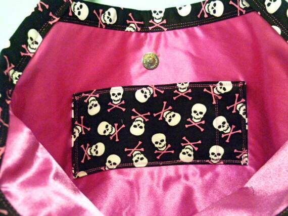 REDUCED PRICE   Black and Pink Skulls Tote Bag