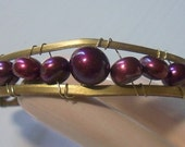 Wire Wrapped Vintage Brass Bracelet - Burgundy Pearls And Vintage Brass