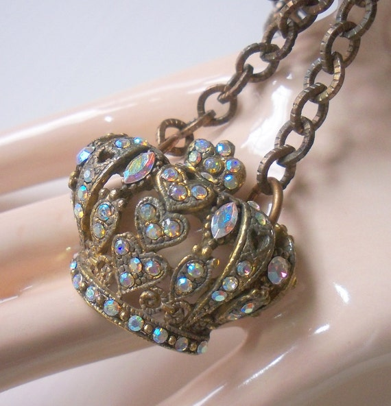 Upcycled Recycled Repurposed Jeweled Crown Brooch Pendant Necklace - Queen Of The Castle