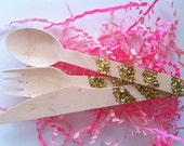 Thick Gold Glitter Wood Utensils, Set of Two