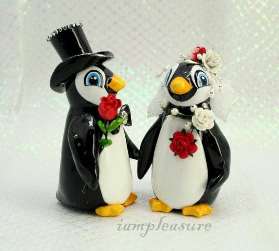 Weddings cake topper handmade penguin bride and groom PT0002