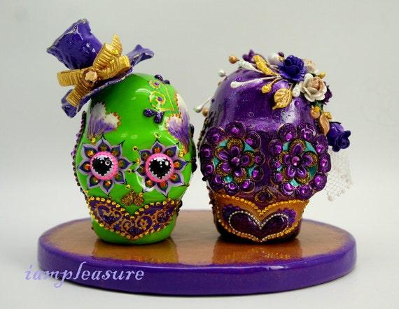 Skull weddings cake topper handmade bride and groom ST0010