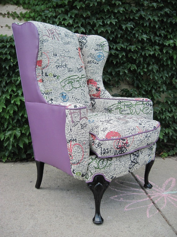 fabric wing back chairs vintage reupholstered wing back graffiti chair by chairybombs 15198 | il 570xN.253401128