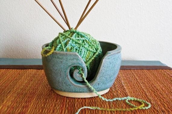 Matte Teal Yarn Bowl - Wheel Thrown Yarn Bowl