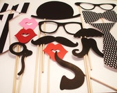Birthday Photobooth Props - Photo Props - Wedding Photo props - Set of 15 - Black and White  Hipster  Set