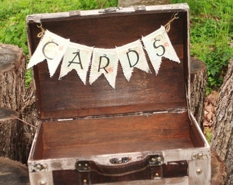 Wedding Card Box - Shabby Chic Suitcase - Wedding Card Suitcase - Vintage Style Card Box - Travel Theme Wedding Favors - Program Box