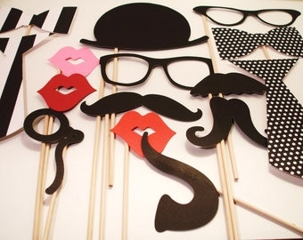 Photo booth Props -Wedding Photo booth - Photo Props - Wedding Photo props - Set of 15 - Black and White  Hipster  Set