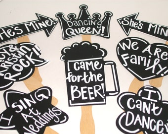 8 Blank Chalkboard Photo booth Props  PLUS One Chalk Markers -  Chalkboard Photo Props with Speech Bubbles