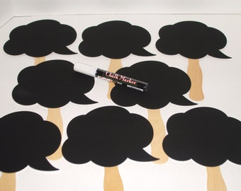 8 Chalkboard Speech Bubbles - Photo booth Props - Plus ONE Chalk Ink Marker