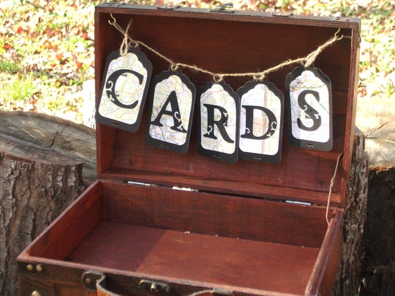 Ready to Ship Wedding Card Box - Vintage Style Travel  Collection