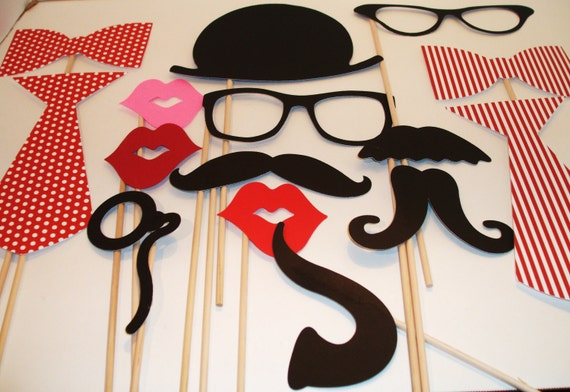 Wedding Photobooth Props - Photo Props - Wedding Photo props - Set of 15 - Reds Hipster  Set