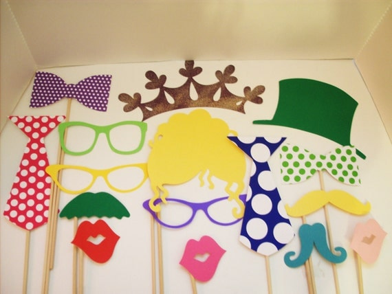 Photobooth Props - Set of 16- For the Young or Young at Heart- Princess Party - Diva Set - Hipster  Set