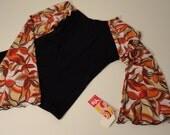 ON SALE printed wide sleeve spandex shirt, shades of orange, beige & brown on white.
